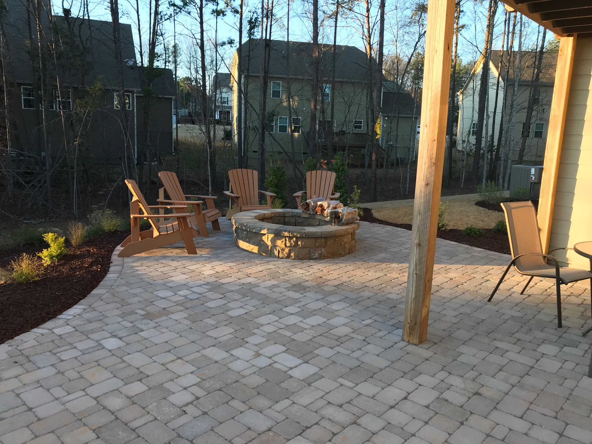 A Belgard Paver Patio Fire Pit And Landscaping Mr Outdoor Living